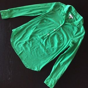 J. Crew Green Popover Blouse Size 00P